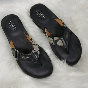 COACH Black Buckle Sandals/Flip Flops